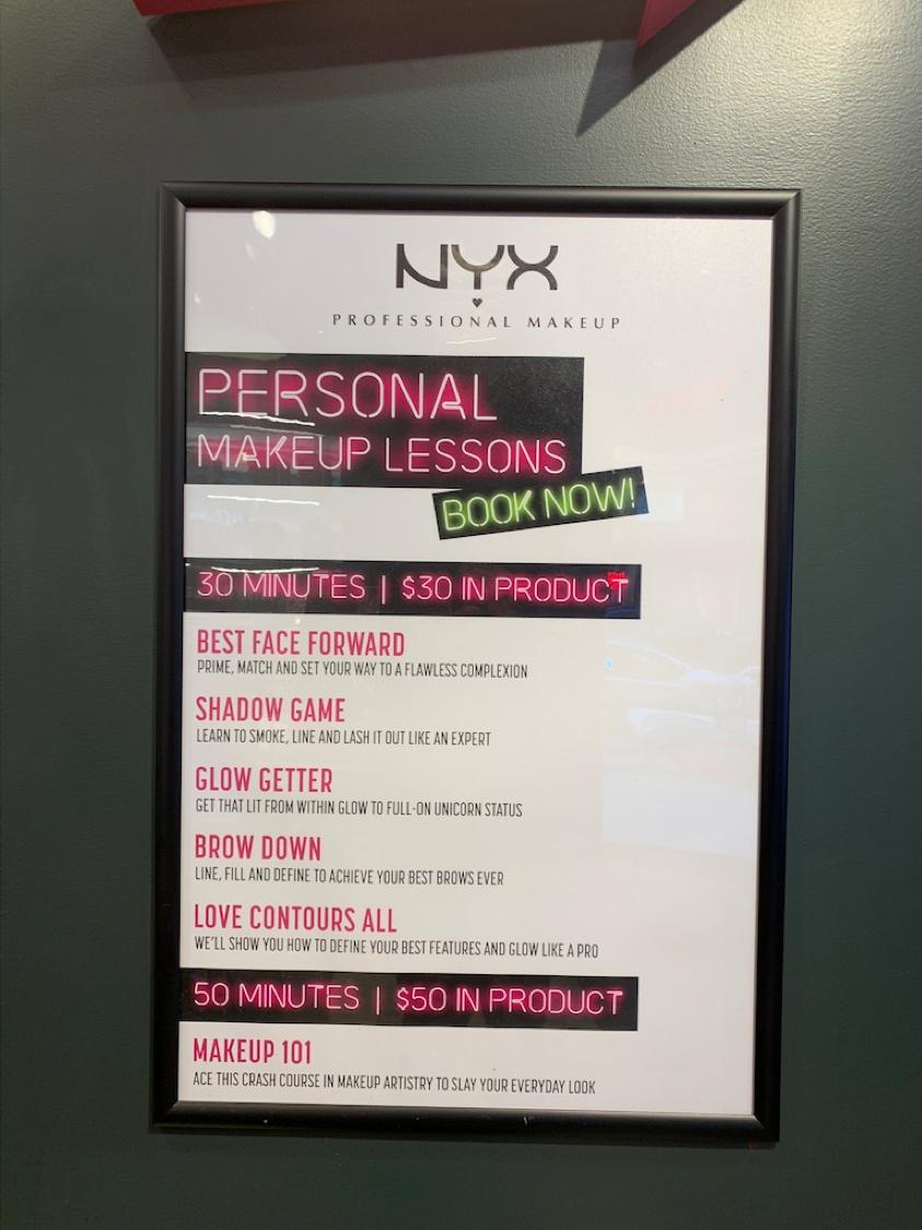 NYX cours de makeup